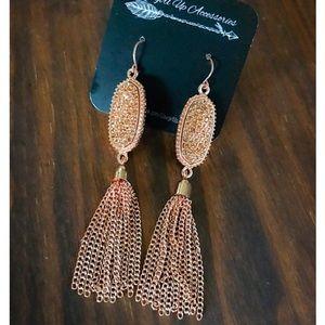 Jewelry - Rose Gold Fringe Tassel Earrings